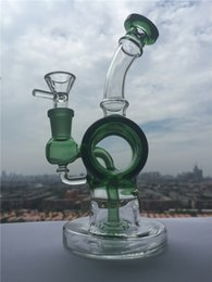 Wholesale High end Design Mini Fab Egg Barrel Figure Colored Glass Bong Tyre perc Water Pipe Oil Rig Recycler Glass Pipes