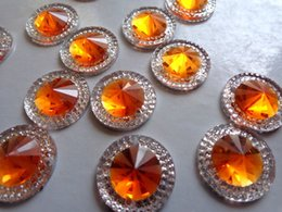100pcs 16mm round flatback orange silver Crystals sew on Rhinestones Accessories For Hand Sewing gem stone