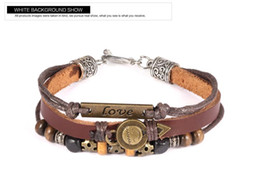 Vintage Leather Love Smile Charm Wrap Wrist Band Brown Rope Chain Surfer Wrap Mens Bracelet Adjustable