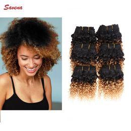 6 Bundles 50g / pc Barbier brésilien Afro Kinky Curly Virgin Hair 7A Grade Cheap Hair Hair # 1b / 27 Extension brésilienne des cheveux vierges à partir de grade 7a vierges faisceaux de cheveux bresilien fournisseurs