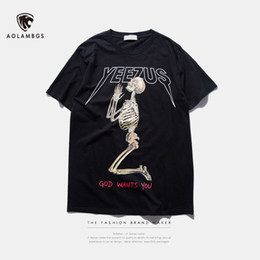 Wholesale T shirt men letter printed Skull yeezus t shirt summer kanye west short sleeve cotton t shirt college casual tops tee
