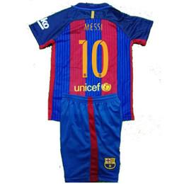 Wholesale 2016 Barcelonaes Kids shorts Best Quality Customized Home Away Jersey Camiseta de Neymar JR Messi Suarez