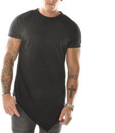 Wholesale t shirt extended kanye mens t shirts fashion extended tee uk oversized side zip bandana black men clothing