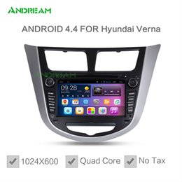 Wholesale 1024 Quad Core In dash Car DVD Player Stereo Android Bluetooth gps Navigation For Hyundai Verna Tucson Free EU shipping NO TAX
