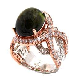 Bague en or tourmaline verte en Ligne-Cocktail en or rose 14 k élégant 2 anneau tonique 14,11 Tourmaline diamant vert