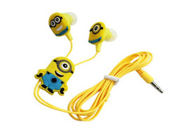 Minions Cartoon Earphone In-ear Wired 3.5 mm Headphone Headset Noise Cancelling headphone for Mobile Phone With Earplug Cover