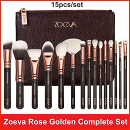 Wholesale Rose Gold Zoeva Makeup Brush Set Makeup Tool Face and Eye Make up Brushes kit Bag Eyeshadow Eyeliner Powder Foundation Blush Brush