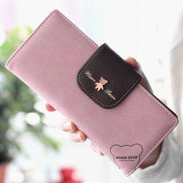 Wholesale 1 Piece Fashion Women Wallet Lovely Carton Bear PU Leather long Purse Candy Fresh Colors Valentines Gift