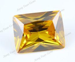 Wholesale 30Pcs Rectangle Shape A Golden Yellow CZ Stone x5 x12mm Loose Cubic Zirconia Lab Created Gems Stone