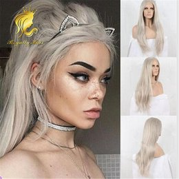 Wholesale 180 Density Long Grey Synthetic Lace Front Wig Ladygaga Platinum Ash Grey Hair Natural Straight Heat Resistant Front Lace Wig