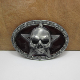 BuckleHome fashion skull belt buckle with pewter finish FP-03042 free shipping