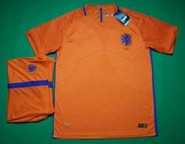 Wholesale 16 Netherlands home football kits short sleeve soccer uniform men s athletic Holland thai quality sports kits adult s football jerseys