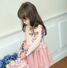 Girls Dress for Kids Clothing 2016 Winter Korean Fashion Lace Tutu Dress Cotton Print Floral Princess Party Dress NT-436