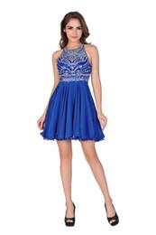 Wholesale Chic Belle Women Chiffon Backless Short Beaded Prom Dress Homecoming Dress