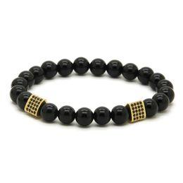 Wholesale 10pcs lot 8mm Black Onyx Stone with Triangle Cubic Zirconia Mens Energy CZ Bracelets Party Gift