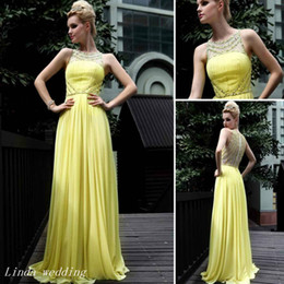 Yellow Long Prom Dress Beautiful A Line High Neck Chiffon Beaded Women Bridesmaid Dresse Special Occasion Dress Evening Party Gown