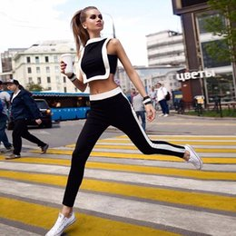Wholesale 2 Piece Set Summer Sport Black Patch White Short Top Long Pants Tracksuit Set Sport Suit Two piece