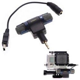 2017 usb gopro Cámara de micrófono de 3,5 mm para GoPro micrófono estéreo Adaptador USB Cable + micrófono para HD Hero 2 3 3 + 4 100-10 respuesta de frecuencia usb gopro limpiar