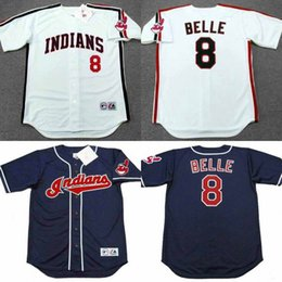 Wholesale Hot sale ALBERT BELLE Cleveland Indians Majestic Throwback Home Baseball Jersey stitched size S XL