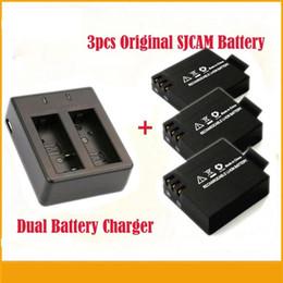 Wholesale 3pcs Original SJCAM V mAh Li ion Battery Dual Battery Charger For SJ4000 SJ5000 SJ6000 SJ7000 SJ9000 Series Action Camera