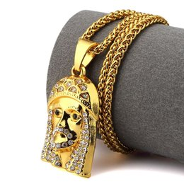 Wholesale 2016 Men s Jewelry Iced Out Bling Jesus Head Pendant Necklace Hip Hop Chain For Women Men With Beautiful Gif Box