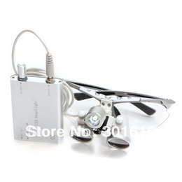 Wholesale Surgical Head Lamp Loupes - Wholesale-Free shipping New siliver 2.5X420 magnifier Dentist Dental Surgical Binocular Loupes Optical and Portable LED Head Light Lamp