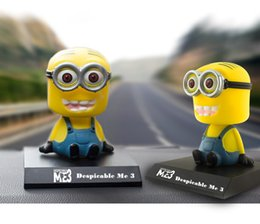 Wholesale DESPICABLE ME little Minions One Eyed Man Shook His Head Cars Furnishing Articles Minions Shook His Head Dolls For Interior Decorations