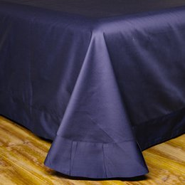 Wholesale Satin Egyptian Cotton Duvet Sets - 100% Egyptian Cotton 60S satin bed linens Royal dark blue duvet covers king size bedding set solid color fitted sheet queen bed