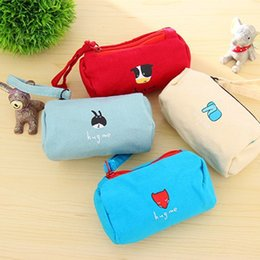 Wholesale Korean Ladies Images - 2016 New Hot Cartoon Animal Images Cute Mini Canvas Bag Keys Kids Coin Purse Change Purse Headset Zipper Coin Key Bag Wholesale