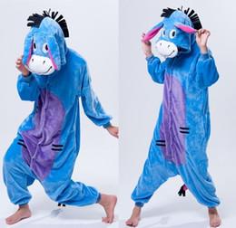 Cartoon Animal Cosplay Donkey kigurumi Onesies Pajamas sleepwear Jumpsuit Hoodies Adults Cos Costume for christmas Halloween and Carnival