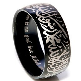 Wholesale Size Stainless Steel Islamic Ring Black Allah Arabic Aqeeq Shahada God Quran Persian Turkish Middle Eastern