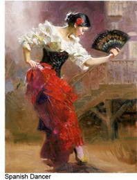Wholesale quot The Dancer quot Spanish Beautiful Dancer by Pino Daeni Hand painted famous Impressionist Art Oil Painting Canvas customized size available dhwu