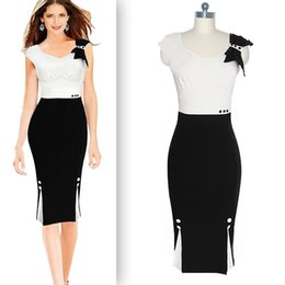 New Arrival Elegant Bodycon Dresses V-neck Sleeveless Bow CONTRAST COLOR Panelled Pencil Dresses White Red Green