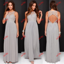 2016 Cheap Grey Bridesmaid Dresses for Wedding Long Chiffon A-Line Backless Formal Dresses Party Lace Modest Maid Of Honor Dress