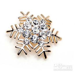 Golad Base Zinc Alloy Clear Rhinestone Crystal SnowFlake Brooch Pin