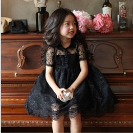 Wholesale Childrens Clothing New Kids Hot Sale Elegant Pure Lace Ball Gown Dress Baby Girls Summer Doll Collar Short Sleeve Princess Dress