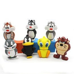 Wholesale Pendrive Looney Tunes Animal GB Daffy GB Duck GB Bugs Bunny GB Crow Lion Cat USB Flash Drive Memory Stick Disk
