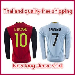 Wholesale Thailand quality Belgium Jersey home red long sleeve away Jersey blue Mertens bruyne harm shirts