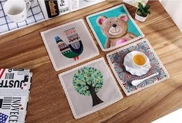 Wholesale 200pcs Cotton Animal Print Non Slip Placemat Table Mat Antiskid Cup Heat insulated Kitchen Drawer Dinning Bowl Pad Mat ZA0760