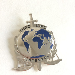 Wholesale Replica police cop metal badge high quality interpol oipc icpc Replica metal badge