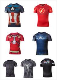 Wholesale NEW d t shirt Superman Batman spider man captain America Hulk Iron t shirt men fitness shirts Coalition of the vengeance t shirts