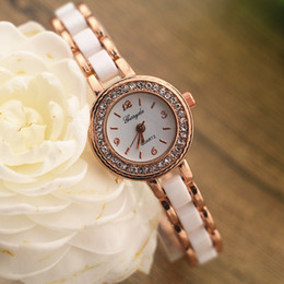 Wholesale Copy ceramic alloy band gold plate round case with crystal deco quartz movement gerryda fashion woman lady ceramic watches