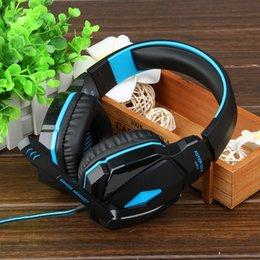 Bruit bleu annulation à vendre-2016 vente chaude luxe StylishKOTION CHACUNE G4000 bruit stéréo annulant le casque de jeu avec le microphone HiFi conducteur lumière de LED pour PC - bleu + noir