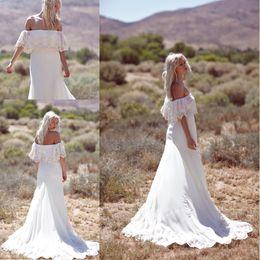 Off the Shoulder Sexy Summer Bohemian Wedding Dresses 2016 Vestidos De Noiva Lace Chiffon Long Wedding Dress Beach Bridal Gowns