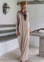 Promotion bleu peplum robe noire Nouveau Femmes Lady élégant Casual vrac Fashion manches Boho long bleu pur Couleur Gris Noir O Neck Long Beach Maxi Dress
