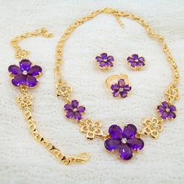Wholesale Direct Marketing Europe Middle East Africa K Gold Plated Delicate Violet Flower Petal Necklace Bracelet Four Sets Earring Sets