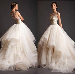 2016 Krikor Jabotian New Prom Dresses Plus Size Ball Gowns Sheer Bateau with Gold Appliques Illusion Back Court Train Prom Dress