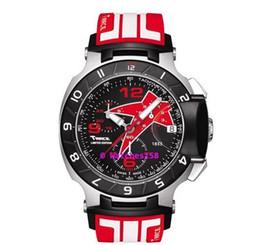 Free Shipping Men's T048 Quartz Watch T048.417.27.057.08 T-Sport T-Race MotoGP Black Dial Red CHRONOGRAPH T0484172705708