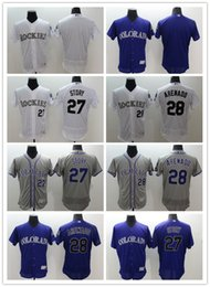 Wholesale 2016 Flexbase MLB Stitched Colorado Rockies Nolan Arenado Trevor Story Blank White Gray Purple Baseball Jersey Mix Order
