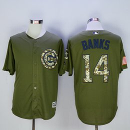 Wholesale 2016 Chicago Cubs Jersey Mens Ernie Banks Army Green Salute To Service Baseball Jersey Fast Shipping Embroidery Logos